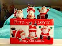 "New In Box Fitz & Floyd Merry Christmas Set of 3 Santa Claus Tumblers 2""-2.75"""