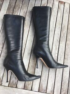 JIMMY CHOO Knee High Black Leather Orchid BOOTS Eu Size 39.5 - Heel 10cm £575