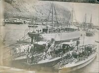 Greek spice and torpedo boats at the Port of Piraeus during WW1 - 8x10 photo