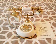 Vintage Ceramic Lan line Home Telephone Phone Antique Style white/gold Techtel