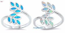 Sterling Silver 925 PRETTY LEAVES DESIGN LAB OPAL STONE RINGS 19MM SIZES 4-12