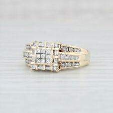 .90ctw Diamond Halo Cluster Ring - 10k Yellow Gold Size 8.5 Heart Bridge