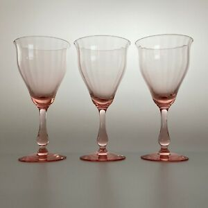 H C FRY GLASS CO Wide Optic Goblet with Male Stem 1920s Rose Pink Very Rare Flaw