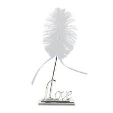 NUOLUX White Feather Signing Pen with Metal Love Holder Wedding Pen Set (Silver)