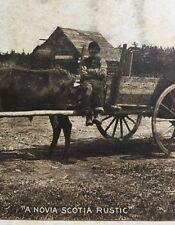 Antique Cardboard Top Farm Scene Bull and Cart A Novia Scotia Rustic
