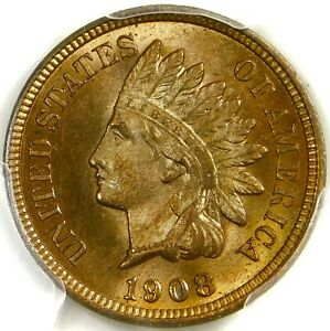 🍏CAC🍏💥🔥🔥 PCGS MS66 RB 1908 INDIAN HEAD CENT