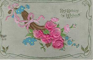 VINTAGE POSTCARD. PINK FLOWER. BEST BIRTHDAY WISHES. 30/4/08.