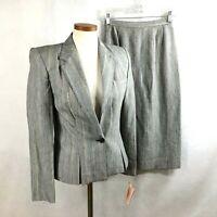 Kasper ASL NWT  Gray Striped Linen Blend Skirt Suit sz 4