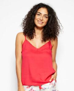 Ladies Womens Red Modal Summer Cami Vest Pyjama Top - SIZE 16 20 22