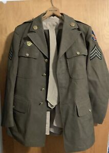 WWII 1942 US Army Air Corp Uniform Wool Jacket, Dress Pants, Shirt and Tie