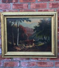 Circa 1850 Primitive Naive Folk Landscape Painting. Manner Of Thomas Chambers.