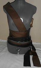 "New brown and black multi wrap SCA renaissance pirate sash costume 128""by 2.5"""