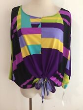 ANALEE + HOPE  Tie-Front Shawl Kaftan Top Blouse Multi-Color Purple Size S  NWT!