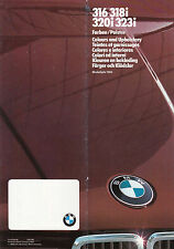 BMW 316, 318i, 320i, 323i, DATED 1/83, COLOURS & UPHOLSTERY GUIDE.