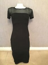 Boohoo Bodycon Dress.Size S (UK10)Midi. Black /mesh