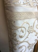 9.25m Ecru Beige Bronze Striped Flame Retardant Jacquard Upholstery Fabric