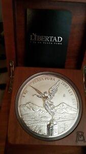 1 KILO ARGENT 999  LIBERTAD 2003 COFFRE EN BOIS MEXICO SILVER PLATA