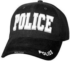 BLACK POLICE Hat Deluxe Low Profile Adjustable Cap 9383