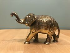 Brass Elephant With Blanket Detail - Trunk Up