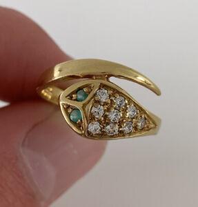 9ct Gold Stone Set Large Heavy Snake Ring, 9k 375