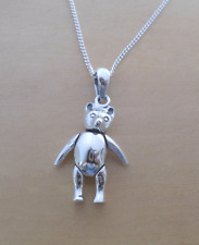 925 Sterling Silver Solid Flexible Arms and Legs Move Teddy Bear Charm Pendant