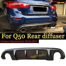 For Infiniti Q50 Rear Bumper Lip Spoiler Diffuser Carbon 2014-17 NO need to cut