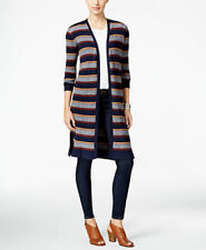 Style & Co Women's Ribbed Duster Cardigan PM Striped Blue Combo