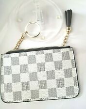 White Checkered Squared Striped  Coin Purse Key Chain  Holder Wallet Purse