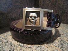 Rare!! Kieselstein-Cord Sterling VERO Skull Buckle With Deep Wine Alligator Belt