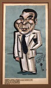 SIGNED Cuban President Dictator FULGENCIO BATISTA 1940 Caricature Portrait
