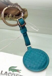 New LACOSTE Leather Chantaco 2 Golf Ball KEYRING Bag Charm Turquoise