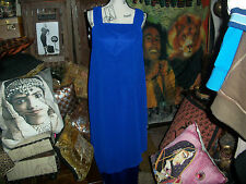 URSULA OF SWITZERLAND Elegant Navy Blue Satin  Dress Size 8P