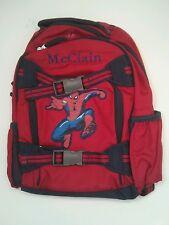 Pottery Barn Kids Small Mackenzie Red Blue Spiderman Backpack name McCLAIN New!