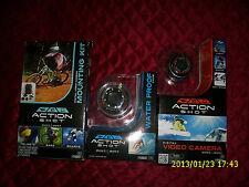 ACTION SHOT set of 3 DIGITAL VIDEO CAMERA  MOUNTING KIT WATER PROOF CASE