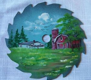 "FARM BARN COUNTRY SCENE Circular saw blade handpainted Summer 6"" Craft Art by EZ"