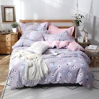 Cotton Floral Doona Quilt Duvet Cover Set Single/Double/Queen/King Size Bedding