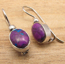 PURPLE COPPER TURQUOISE Stone Earrings !! Silver Plated Metal Jewelry