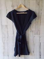 NWT $176 TULAROSA Yvonne Belted Wrap Dress Navy Fringe Cap Sleeve REVOLVE S