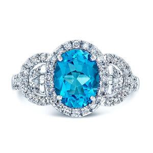 14k White Gold Oval Swiss Blue Topaz Diamond Three 3 Stone Engagement Ring