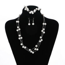 Fashion Pearl Necklace Earrings Bracelet Set Bride Wedding Jewelry Gift
