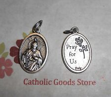 "St Jude - Pray for Us on back -  Italian 1 inch Die Cast Silver Tone 1"" Medal"