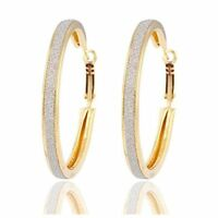 ROUND 18K REAL GOLD PLATED MADE WITH BRUSHED CRYSTALS HOOP EARRINGS *UK SELLER*