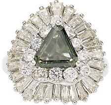 Beautiful Green Diamond Platinum Ring Pendant ring-dant