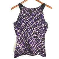 The Limited Purple Black Check Plaid Tank Top Elastic Waist Women's Size Small