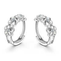 1 Pair Silver Crystal Flower Plated Stud Earrings for Women WS