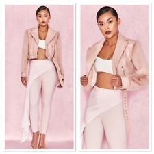 House of CB Pink Nali Faux Fur Sleeve Biker Jacket