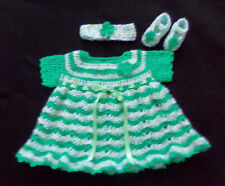 Crochet Green Baby or Reborn Doll Dress Headband and Shoes Handmade 3-6 months