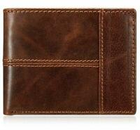 Men's Handmade Vintage Genuine Brown Leather Bifold Wallet