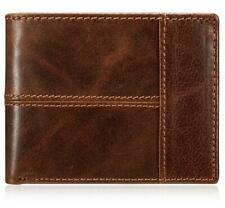 Men's Genuine Leather Bi-fold Wallet Brown with Credit Card Slots