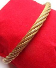 beau bracelet rigide couleur or rigide tressé ouvert bijou vintage 785